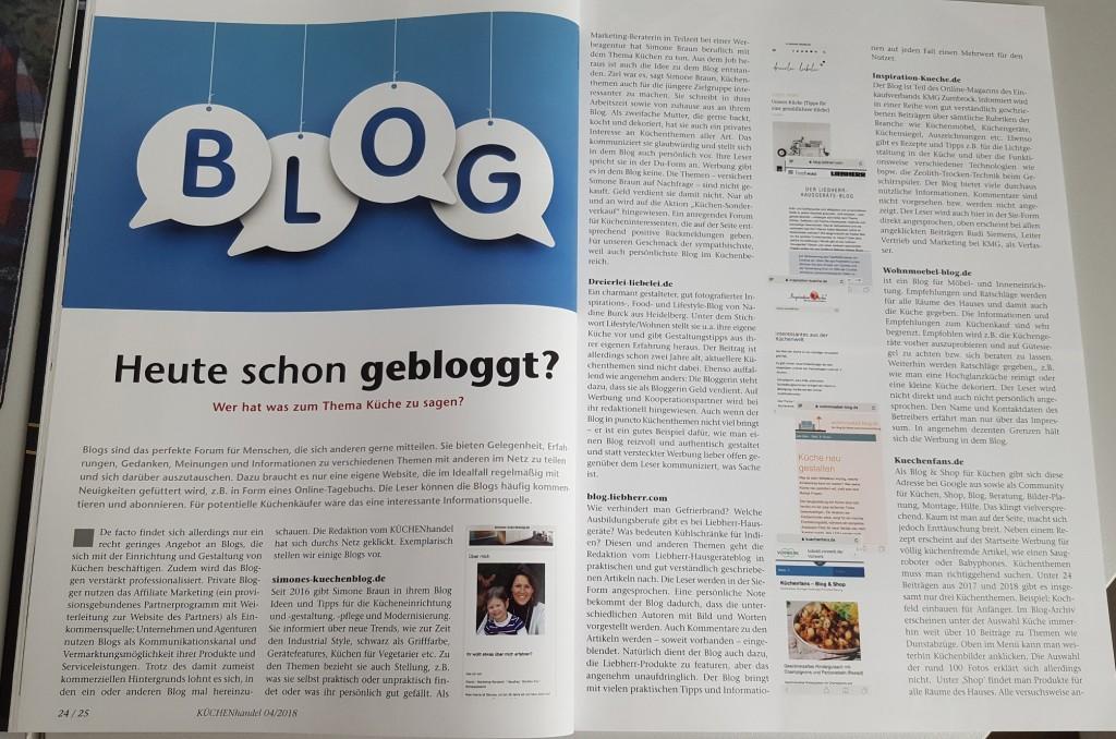 Simones Küchenblog, KÜCHENhandel, Presse
