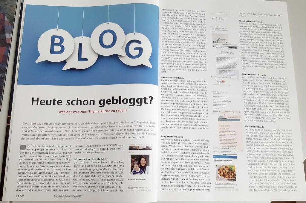 Empfehlung für Simones Küchenblog im Magazin KÜCHENhandel, Ausgabe 04-2018